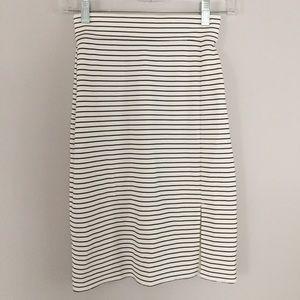 Ann Taylor White Striped Skirt